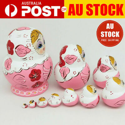 10X Wooden Cute Cute Girl Nesting Dolls Matryoshka Russian Painted Doll Toy Gift