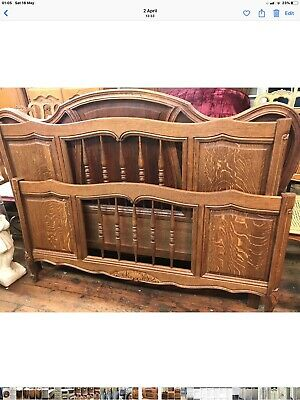 French Original Oak Large double/king  Bed beautiful vintage carved Louis XV