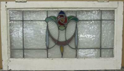 """OLD ENGLISH LEADED STAINED GLASS WINDOW TRANSOM Mackintosh Rose 28"""" x 15.75"""""""