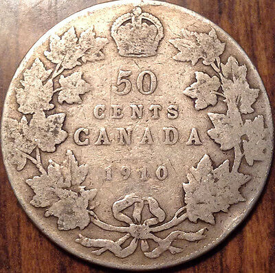 1910 Canada Silver 50 Fifty Cents