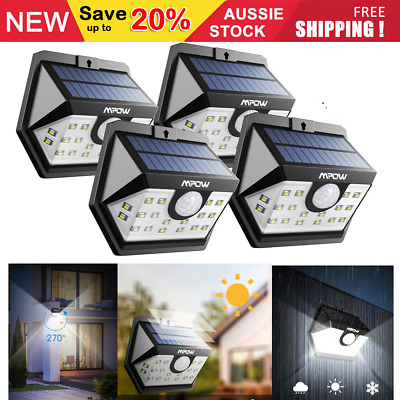 Mpow 20 LED 2019 Newest Solar Powered Lights Outdoor Security Wall Mount Lamp AU