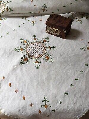 Vintage Antique Hand Embroidered Cutwork HARDANGER Lace Linen Table  CLOTH 40 In