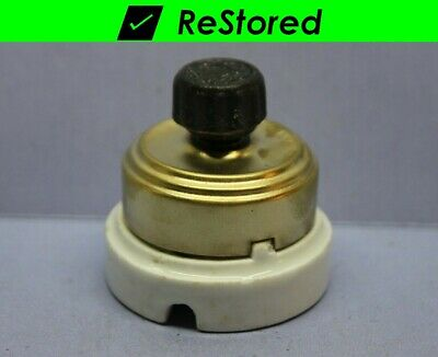 Vintage Perkins Brass/Porcelain Round Single-Pole Rotary Light Switch ON/OFF