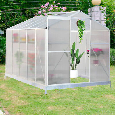 Aluminum Frame Polycarbonate Greenhouse Base Slide Door -Clear, 4x6, 8x6, 10x6ft
