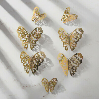 12Pcs 3D Hollow Wall Stickers Butterfly Fridge Fishion  for Home Decoration NewH