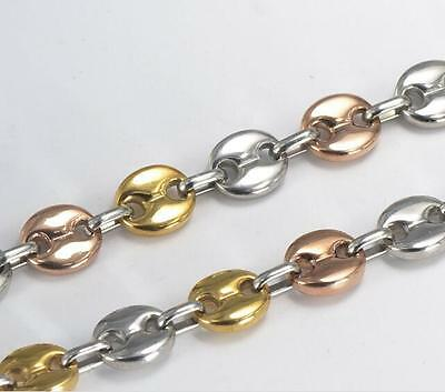 Rose Gold Tri-Color coffee beans chain Stainless steel Necklace Women 8mm 22''
