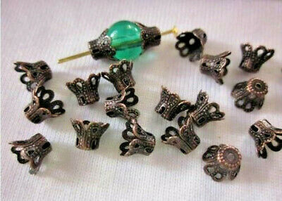 50 Dark Copper Coloured 5mmx6mm Filigree Bead Caps #bc401 Jewellery Findings