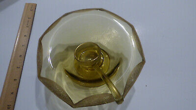 Vintage yellow amber etched depression glass footed compote bowl & spoon in bowl