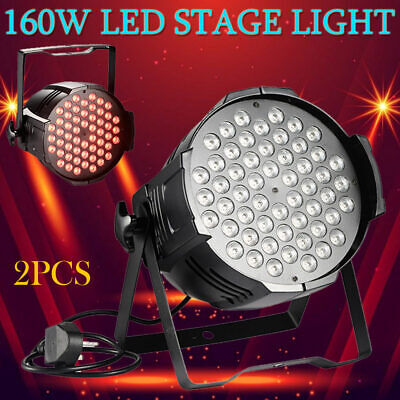 2 X 160W LED RGB Stage Light DJ Disco Party Club Bar Par 54 DMX Show AU Plug