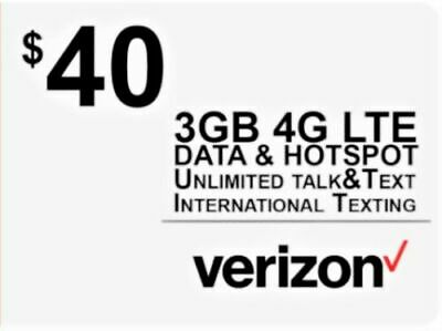 Verizon Wireless Sim Card 4G LTE includes First Month $40 plan for Free