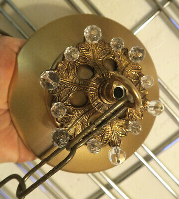 Beaded Vintage Brass Ceiling canopy lamp chandelier part French appartment glass
