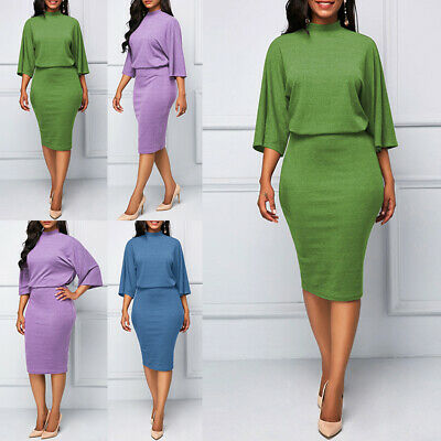 b6453e900678 Ladies Office Dress Turtleneck Solid Slim Fit Business Bodycon Knee Length  Sexy