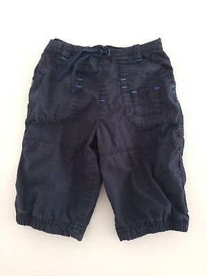 Baby Boys MOTHERCARE Black Turquoise Jersey Lined Trousers Size 3-6 Months