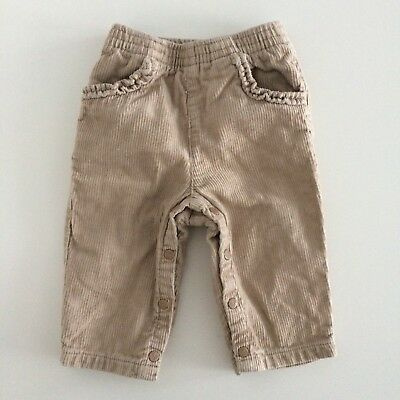 Baby Girls DPAM Beige Corduroy Fully Lined Trousers Size 6 Months