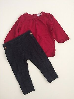 Baby Girls MONSOON Red Top TED BAKER Soft Denim Legging Outfit Size 6-12 Months