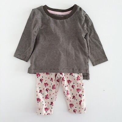 Baby Girls Brown Beige Rose Print Floral Top Leggings Outfit Size 0-3 Months