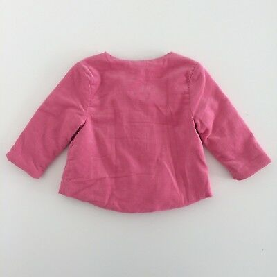 Baby Girls MOTHERCARE Pink Corduroy Floral Lined Padded Jacket Size 0-1 Months
