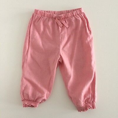 Baby Girls NEXT Pink Linen Trousers Size 9-12 Months