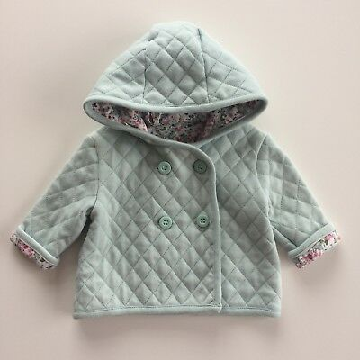 Baby Girls MOTHERCARE Pastel Greeen Quilted Hooded Jacket Size 0-1 Month