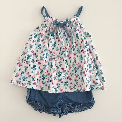 Baby Girls NEXT White Floral Tunic Top Denim Shorts Two Piece Set Size 3-6 Month