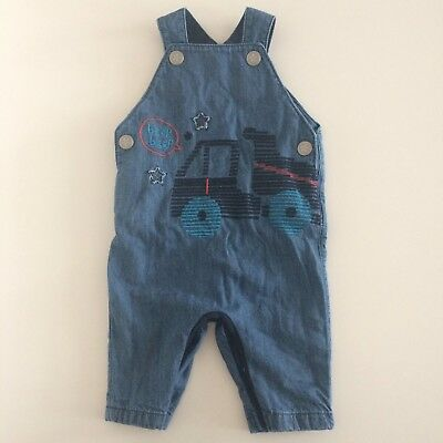 Baby Boys BLUE ZOO Navy Denim Fully Lined Truck Dungarees Size 0-3 Months