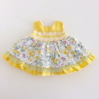 Baby Girls ALBER Spanish Vintage Style Yellow Floral Party Dress Size 1 Months