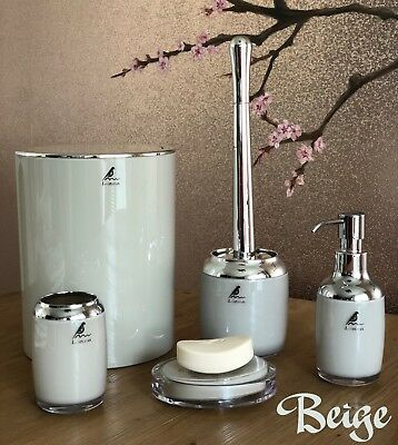 5-Piece ABS and Chrome Bathroom accessories set, Modern and elegant design