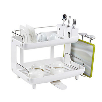Naturnic CURVED Dish Rack, 2 Tier Dish Drainer Rack,Stainless Steel 204+ABS