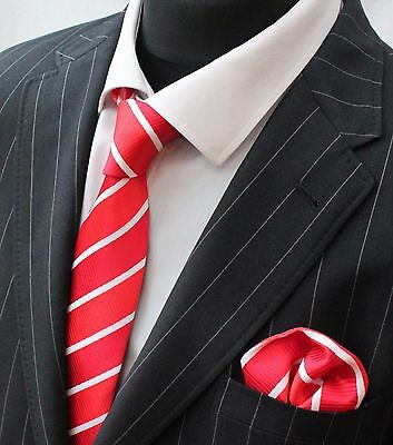 Men's Tie & Handkerchief Set Two Shade Red with White Stripe LUC281