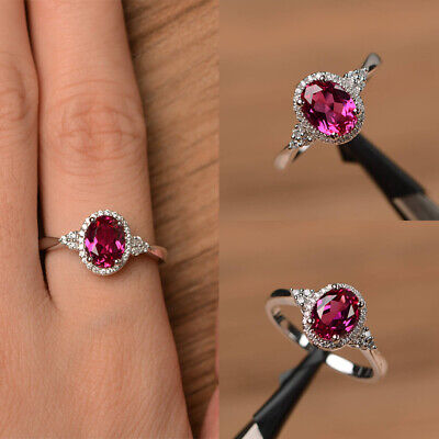 Womens Red Ruby CZ 925 Silver Plated White Topaz Rings Charm Ring Jewelry Gifts