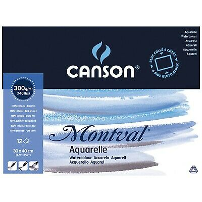 Canson Montval 300gsm watercolour practice paper Block including 12 sheets, s...
