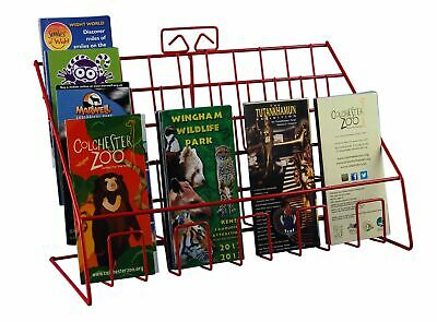 Stand-Store Red Counter Display Stand for Mixed Sized Greeting Cards, Leaflet...