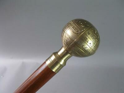 Vintage Wooden Walking Stick Hiking Stick with Brass Handle Globe 94 cm