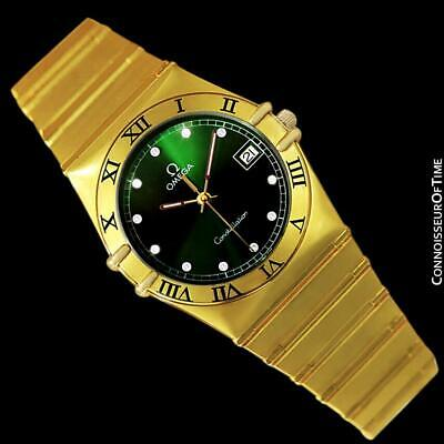 OMEGA CONSTELLATION Mens 35mm Green Dial 18K Gold Plated & Diamond Watch - Mint