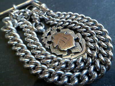 70g Victorian 1886 Solid Silver Double Albert Pocket Watch Chain + 9ct Gold Fob