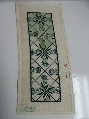 Needlepoint Canvas Panel Floral Partially Worked 8x18 Navy Blue & Green