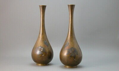 Japanese Bud Vase Pair Bronze Silver Lacquer Mixed Metal Antique