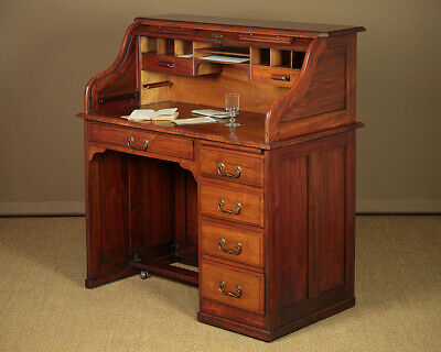 Antique Edwardian Walnut Roll Top Office Desk c.1910.