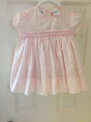 7f108f55c0f4a Sarah Louise England girls 6 mo pale pink floral hand smocked fully lined  dress