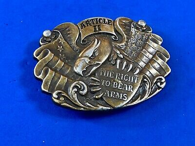 2ND AMENDMENT RIGHT TO KEEP AND BEAR ARMS Belt Buckle EAGLE crossed rifles