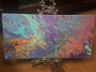 Abstract original acrylic pour painting canvas fluid art painting 20x10