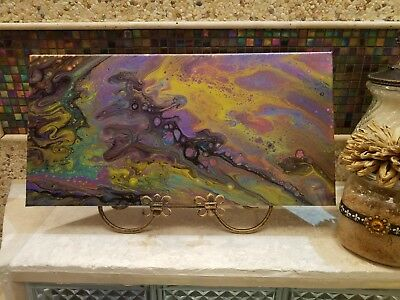 abstract original acrylic pour painting canvas fluid art painting 10 x 20