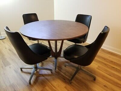 Tremendous Retro Mid Century Modern Round Chromcraft Table 5 Swivel Short Links Chair Design For Home Short Linksinfo