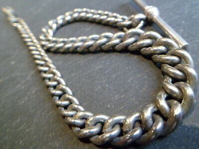 Antique Silver Tone White Metal CHUNKY Graduated Albert Pocket Watch Chain