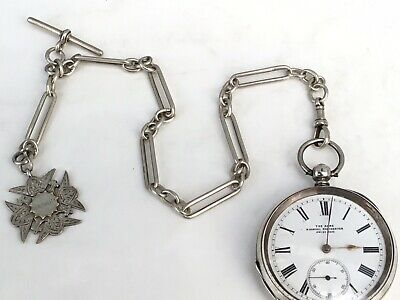 Antique Swiss Silver Pocket Watch, 'The Acme' H Samuel With Silver Watch Chain