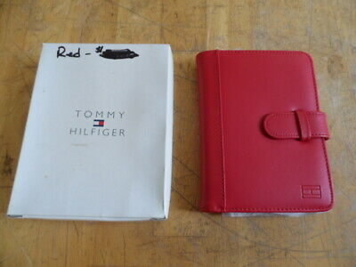 "Nib Tommy Hilfiger 4"" X 6"" Red Leather Photo Album Holds 40 Pics"