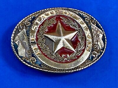 The  State of TX Texas Vintage 1981 Great American belt buckle co  colorful