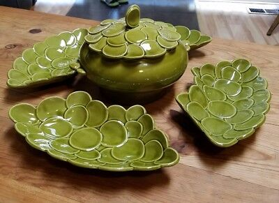 Vtg CALIFORNIA USA POTTERY olive green mid century dip serving tourine & 4 trays
