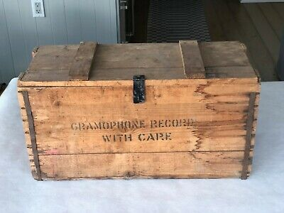 Vintage Antique gramophone records wooden crate w/lid Hong Kong shipping 1930's