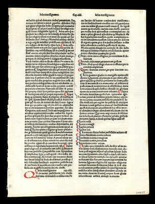 1485 Rare  Incunable Leaf  Lot (2) The Passion of Christ Hand-Colored Letters
